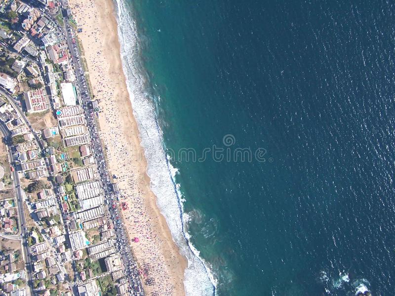 Aerial view of reñaca beach. Aerial shot of reñaca beach in the coast of chile stock photography