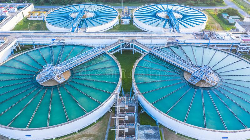 Aerial view recirculation solid contact clarifier sedimentation tank, Water treatment solution, Industrial water treatment stock images