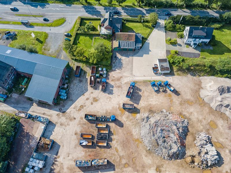 Aerial view of a recycling yard stock image
