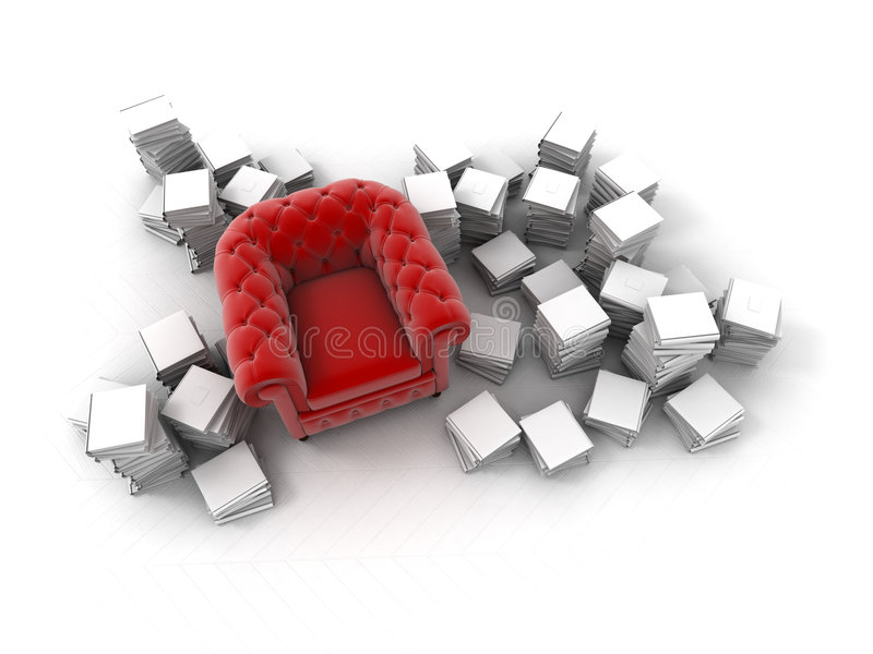 Aerial view of red club armchair surrounded by boo. Red velvet club armchair surrounded by white books vector illustration