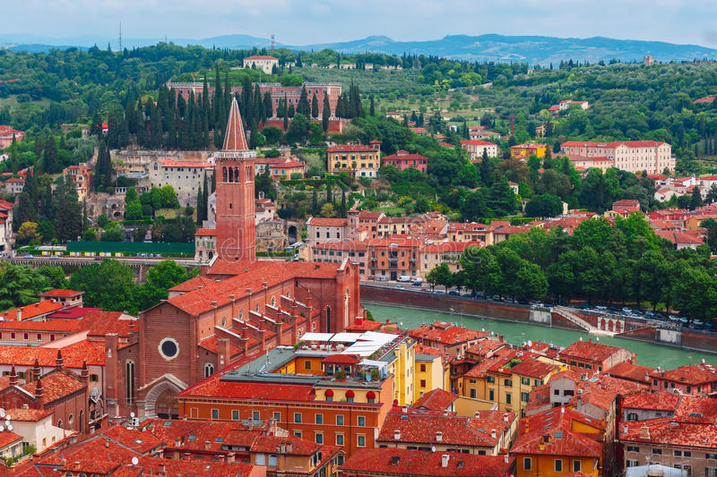 Aerial view of red roofs in Verona, Italy stock photos
