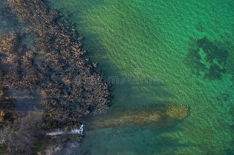 Aerial view of reedbeds and water, annecy lake, savoy royalty free stock images