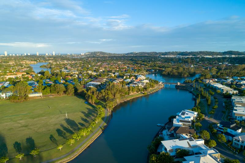 View of Reedy creek and luxury houses. Aerial view of Reedy creek and luxury houses. Varsity Lakes, Gold Coast, Queensland, Australia stock image