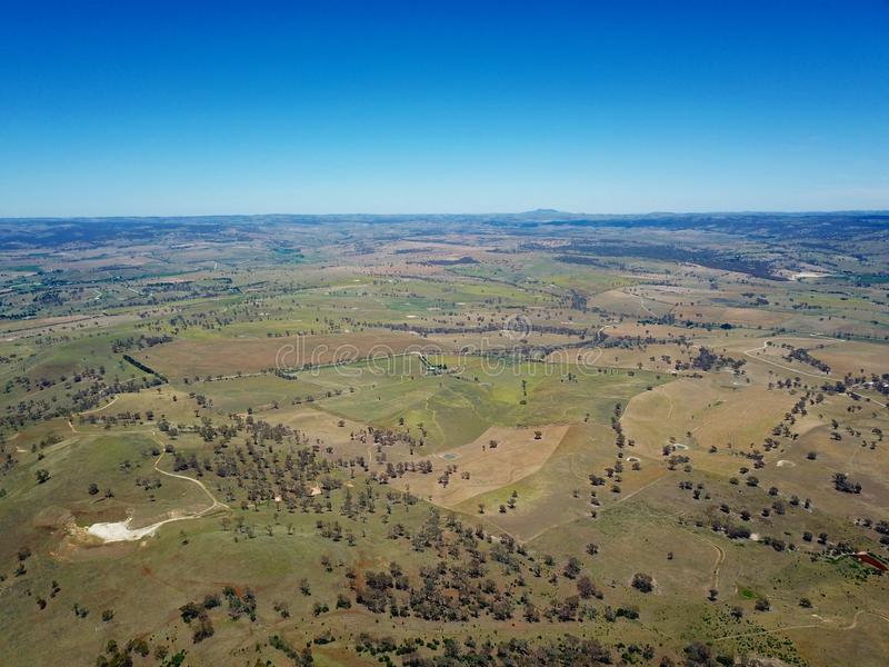 Aerial view of the regional country city of Bathurst. From Mount Panorama home of Australia most famous motor car race. Bathurst is located in the central west royalty free stock image