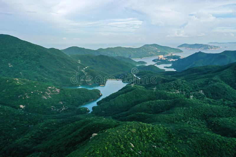 Aerial view of Reservoir and dam in Hong Kong at daytime.  stock images