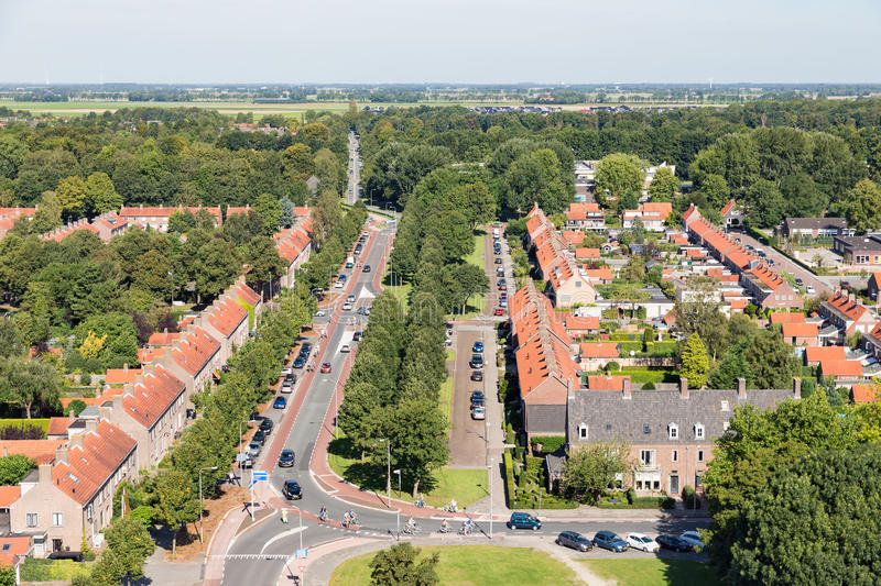 Aerial view residential area of Emmeloord, The Netherlands royalty free stock photos