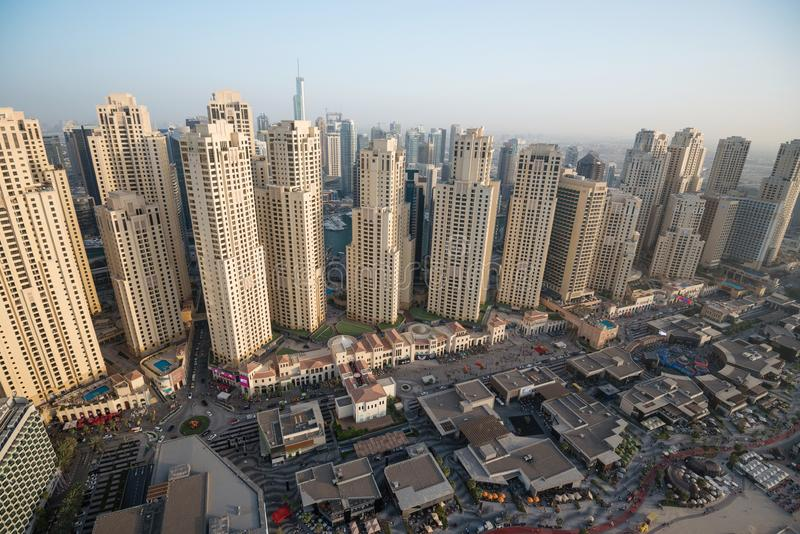Aerial view of residential buildings at Jumeirah Beach Residence JBR in Dubai stock photo
