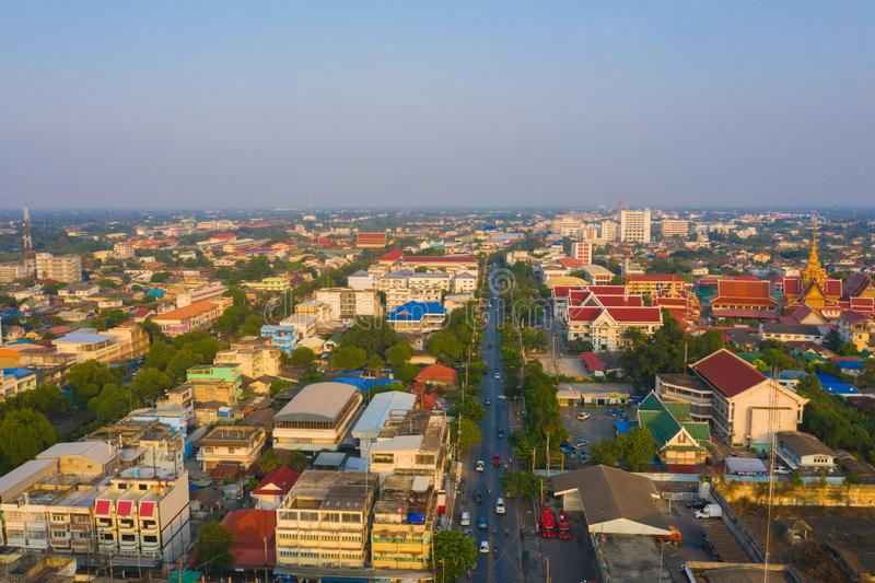 Aerial view of residential buildings in Phra Prathom Chedi district, Nakhon Pathom, Thailand. Urban city in Asia. Architecture. Landscape background royalty free stock images