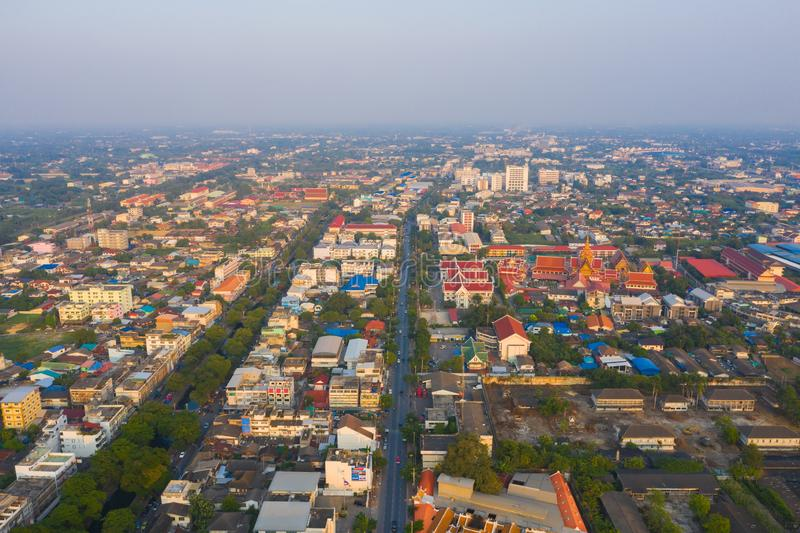 Aerial view of residential buildings in Phra Prathom Chedi district, Nakhon Pathom, Thailand. Urban city in Asia. Architecture. Landscape background stock images