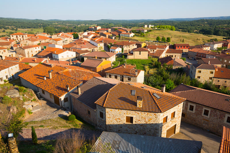 Aerial view of residential districts in spanish village. Hacina stock photo
