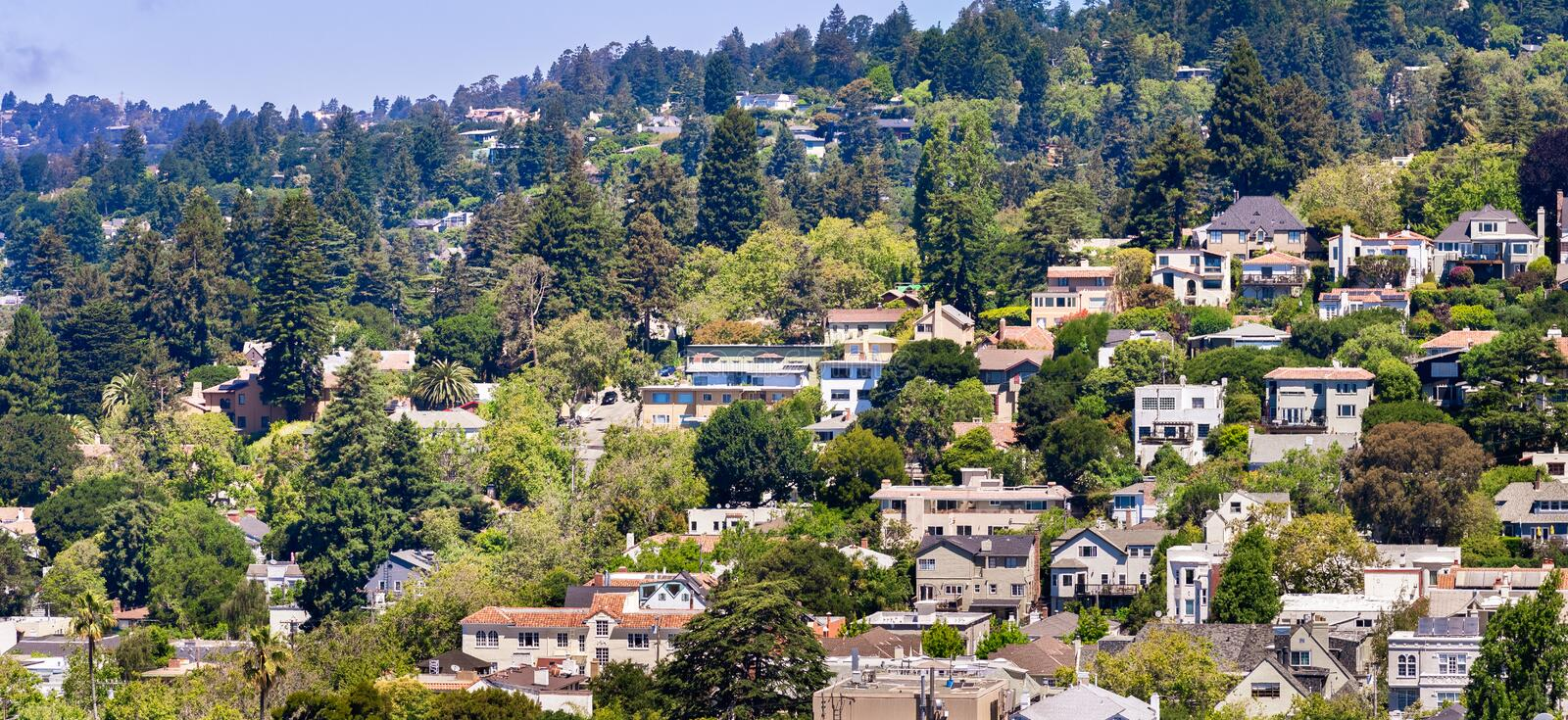 Aerial view of residential neighborhood built on a hill, Berkeley, San Francisco bay, California royalty free stock image