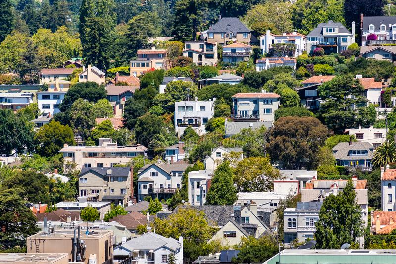 Aerial view of residential neighborhood built on a hill, Berkeley, San Francisco bay, California stock images