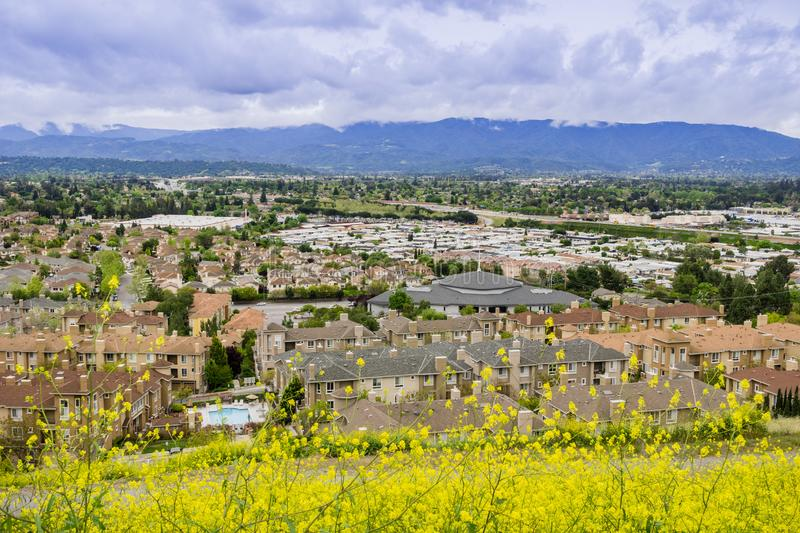 Aerial view of residential neighborhood on a cloudy day, San Jose, California royalty free stock images