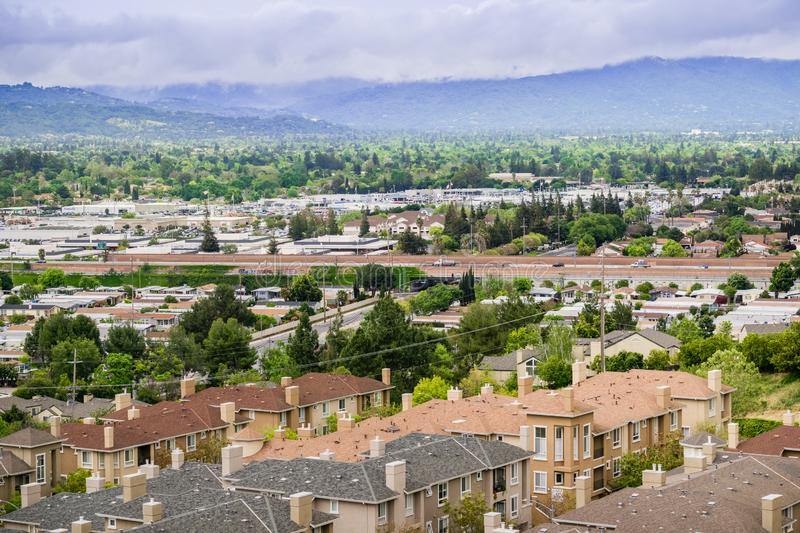 Aerial view of residential neighborhood on a cloudy day, San Jose, California royalty free stock photo
