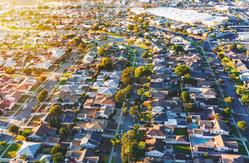 Aerial view of of a residential neighborhood in LA stock images