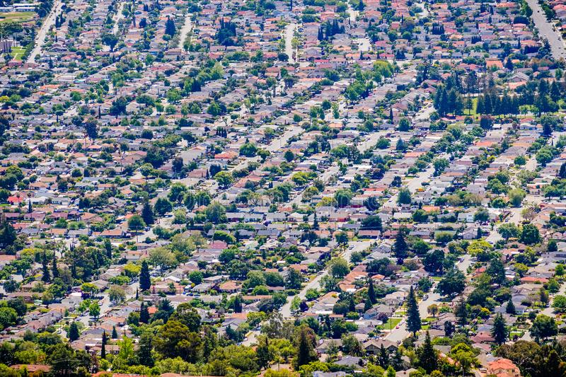 Aerial view of residential neighborhood in San Jose, south San Francisco bay area, California royalty free stock images