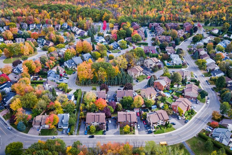Aerial View of Residential Neighbourhood in Montreal During Autumn Season, Quebec, Canada stock images