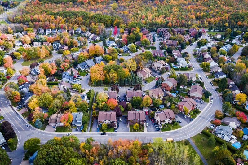 Aerial View of Residential Neighbourhood in Montreal During Autumn Season, Quebec, Canada. Residential neighbourhood in the suburbs of Montreal during autumn royalty free stock photo