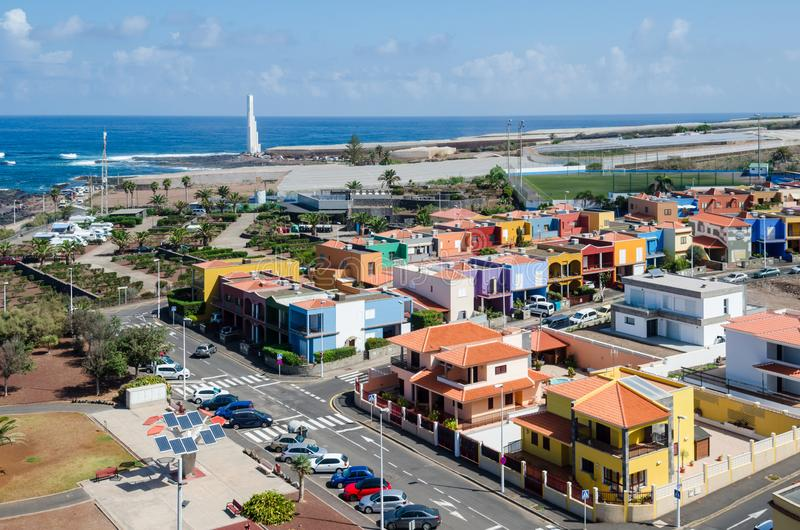 Aerial view of the resort town of Punta del Hidalgo. Tenerife, Canary Islands, Spain. stock photos