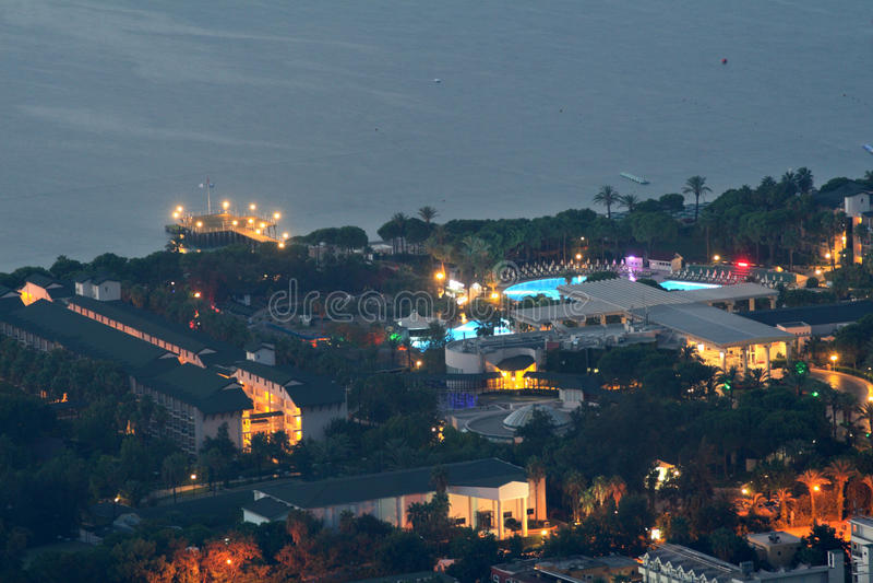 Aerial view of the resort village Camyuva Kemer, Turkey, night. royalty free stock photography