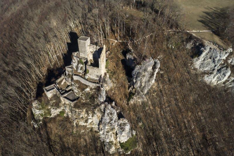 Aerial view of Reussenstein Castle, Neidlingen, Swabian Alb, Germany. Aerial view royalty free stock photo