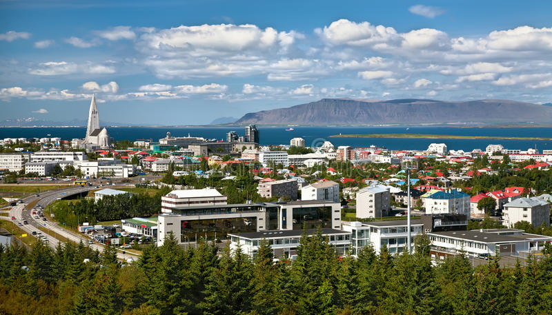 Aerial view of Reykjavik royalty free stock images