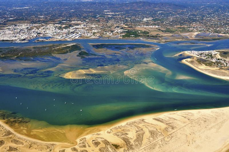 Aerial view of Ria Formosa. Ria Formosa is the most important aquatic natural reserves existing in Portugal. It is located in the protected area of Algarve and stock photography