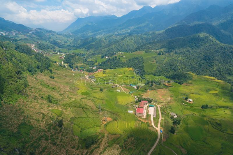 Aerial view of rice paddy and rice terraces agriculture nature background. Sapa, Vietnam stock photography