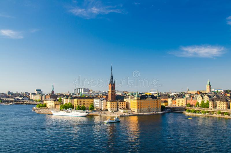 Aerial view of Riddarholmen district and ship, Stockholm, Sweden stock photos