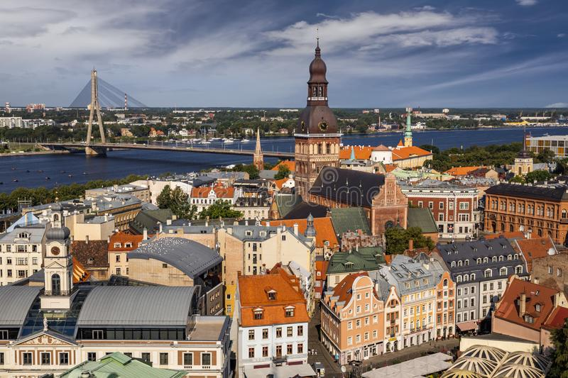 Aerial view of Riga center from St. Peter`s Church, Riga, Latvia royalty free stock image