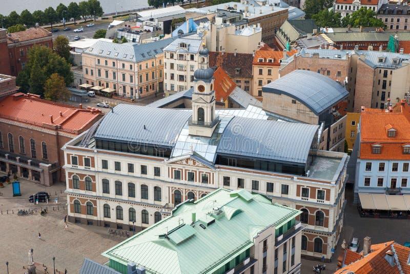 Aerial view of the Riga city, Latvia stock photo