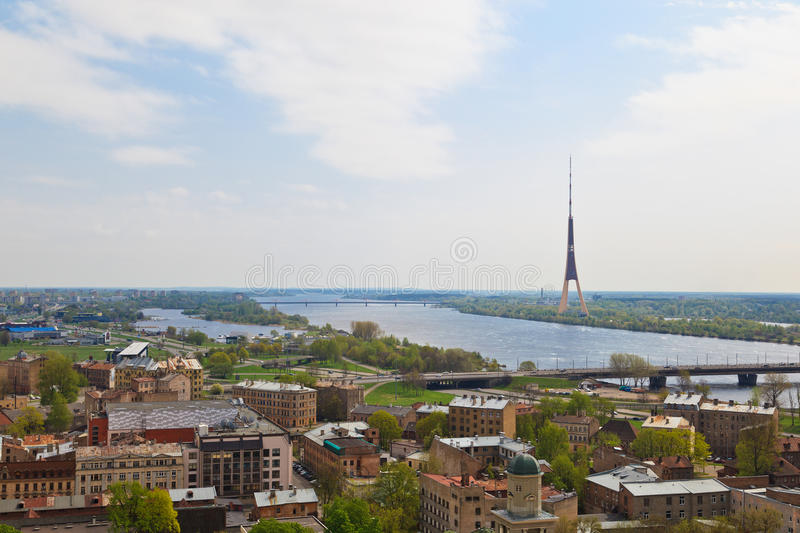 Aerial view of Riga, Latvia stock images