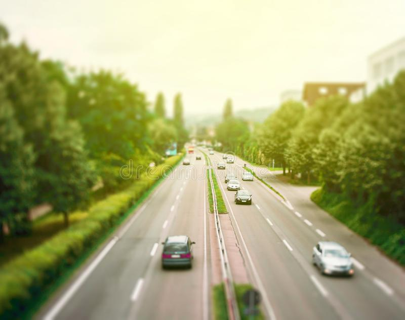 Aerial view of a right hand motorway highway sunny day royalty free stock photo
