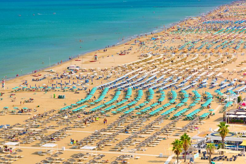 Aerial view of Rimini beach with people and blue water. Summer vacation concept. stock photography
