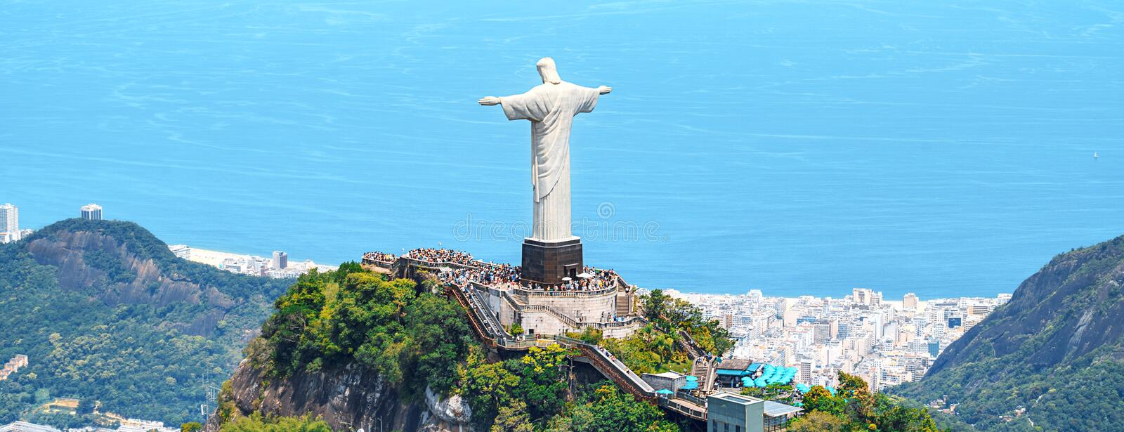 Aerial view of Rio de Janeiro with Christ Redeemer and Corcovado Mountain. Brazil. Latin America, horizontal royalty free stock image