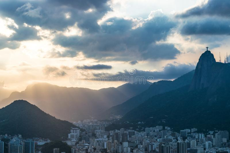 Aerial view of Rio de Janeiro with Christ Redeemer and Corcovado Mountain. Brazil. Latin America stock image