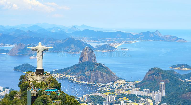 Aerial view of Rio de Janeiro with Christ Redeemer and Corcovado Mountain stock image