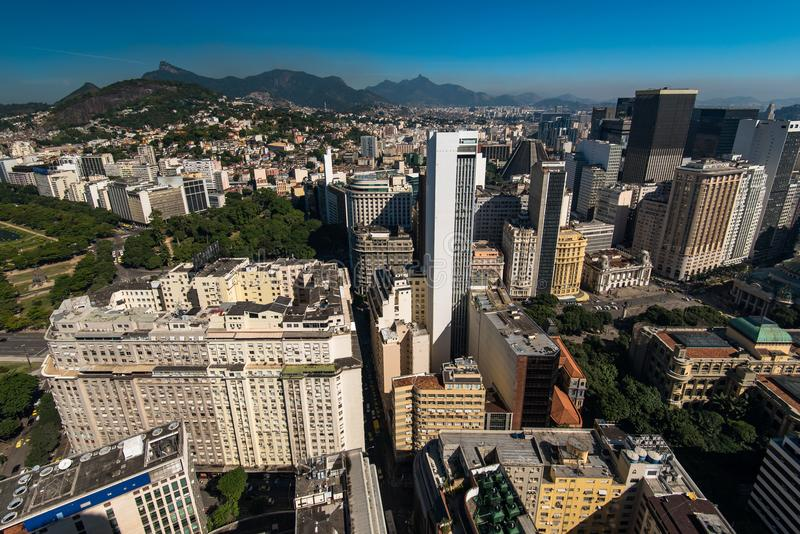 View of Rio de Janeiro Downtown Buildings, and Mountains in the Horizon royalty free stock image