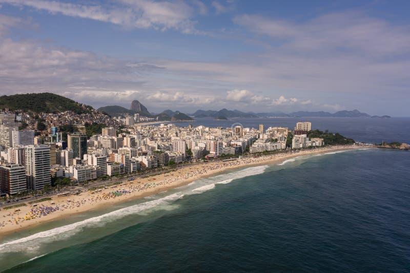Aerial view of Rio de Janeiro, Ipanema and Copacabana beach in the summer. Aerial, panoramic view of Rio de Janeiro, Ipanema and Copacabana beach in the summer stock photo