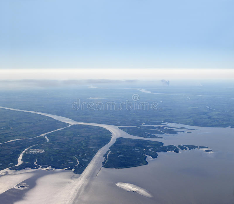 Aerial view of Rio de la Plata. (River of Silver in English). The Río de la Plata is the estuary formed by the confluence of the Uruguay River and the Paran royalty free stock images