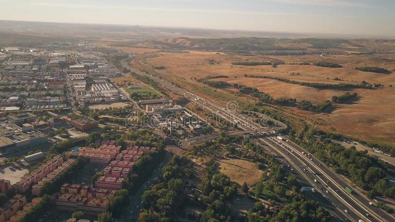 Aerial view of Rivas-Vaciamadrid city and A3 motorway from Madrid to Valencia, Spain. Aerial view of Rivas-Vaciamadrid city and A3 motorway from Madrid to stock photo
