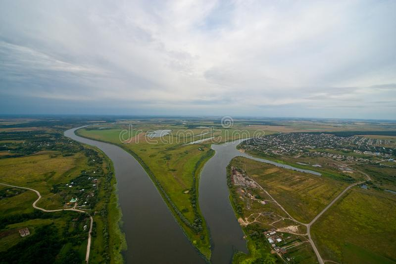Aerial view on the river royalty free stock images