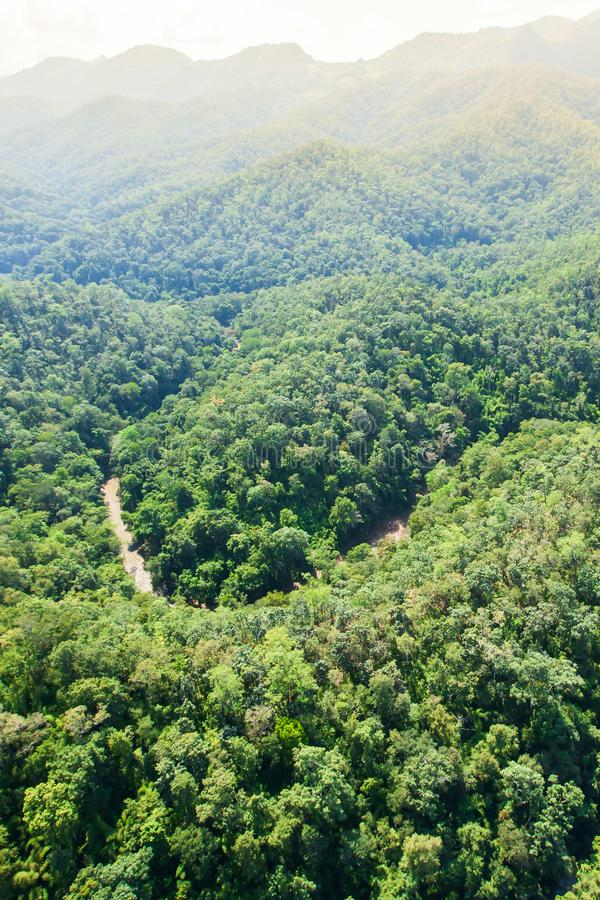 Aerial view of a river deep in the Teak forest near Thailand-Myanmar border, rainy morning. Mae Hong Son, Thailand stock photography