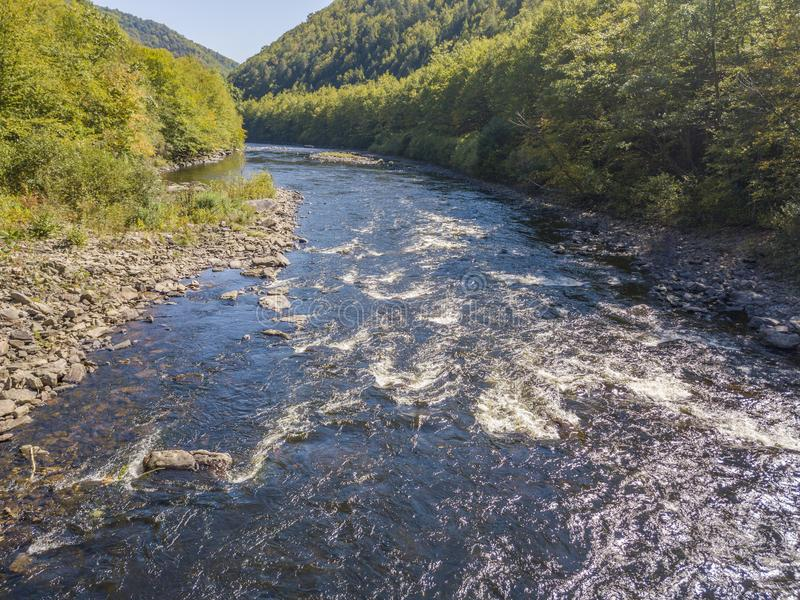Aerial view of the river. Lehigh Gorge state park aerial view royalty free stock images