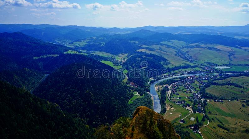 Aerial view of river and mountains royalty free stock photo