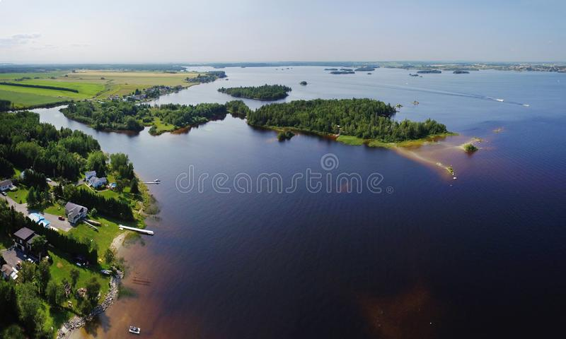 Aerial view of river mouth with small islands royalty free stock photos