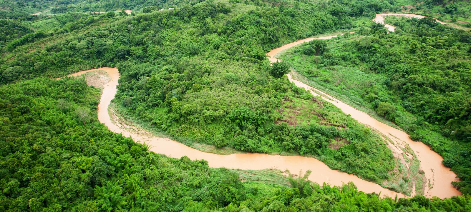 Aerial view of a river overflowing in rainy season stock image