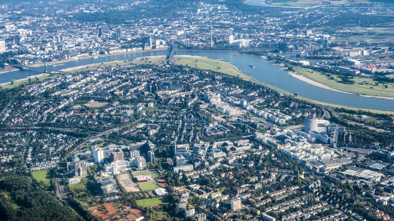 Aerial view River Rhine, Dusseldorf stock photos