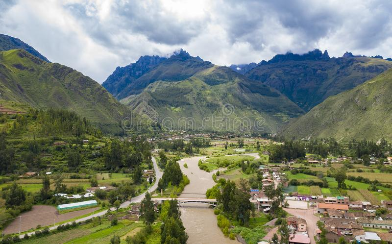 Aerial view of river at the Sacred Valley of the Incas near Urubamba town. Mountains alpine landscape in a region of Cusco, Peru stock photos