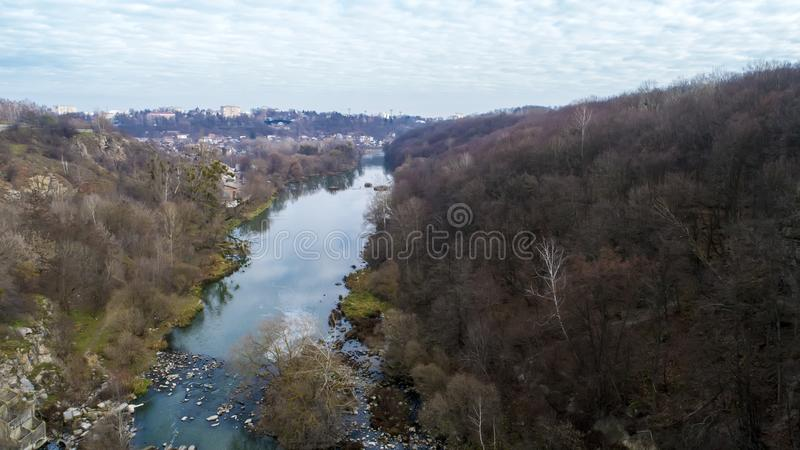 Aerial view of the river Teteriv. Beautiful view of the river landscape. Aerial view of the river Teteriv. Beautiful view of the river landscape royalty free stock photo